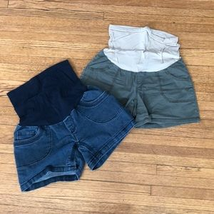 Two pairs of maternity shorts